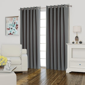 Valencia Silver Lined Eyelet Curtains