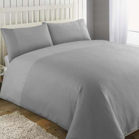 Waffle Grey Duvet Cover and Pillowcase Set