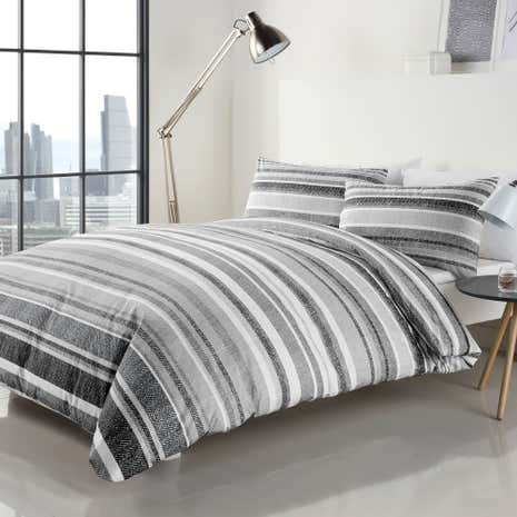 Graphic Stripe Grey Duvet Cover Set