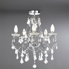 Vela 5 Light Flush Chrome Chandelier