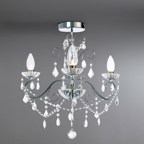 Vela 3 Light Flush Chrome Chandelier