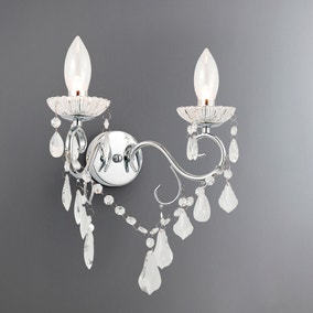 Vela 2 Light Chrome Wall light