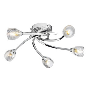 Kate 5 Light Chrome Flush Ceiling Fitting
