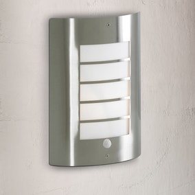 Sigma Stainless Steel Slatted Wall Light with PIR Sensor