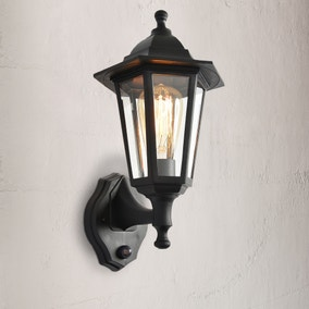 Bianca Black Up Down Wall Lantern with PIR Sensor