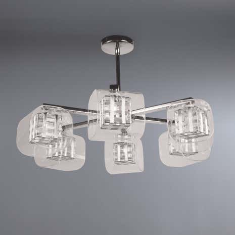 Adam Wired Cube 6 Light Semi-Flush Ceiling Fitting
