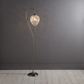 Ennis Chrome Beaded Crystal Pendant Floor Lamp