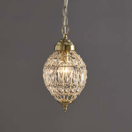 Ennis Satin Brass Beaded Crystal Pendant