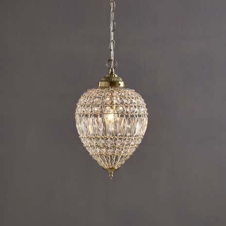 Ennis Satin Brass Large Beaded Crystal Pendant