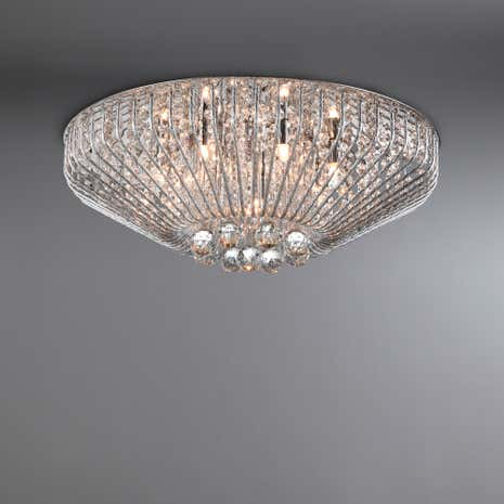 Farah Chrome 7 Light Crystal Ceiling Fitting