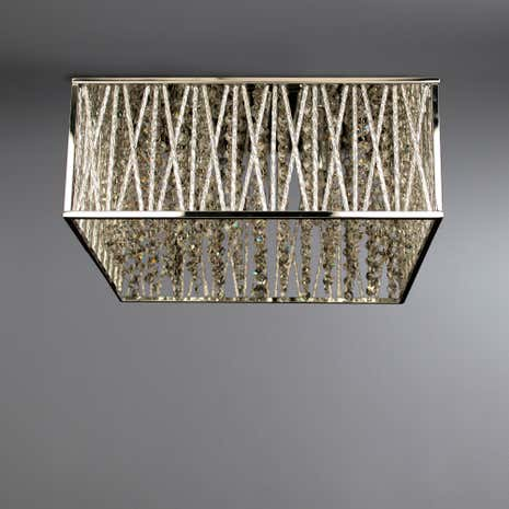 Simmond Chrome 4 Light Hexagonal Crystal Flush Ceiling Fitting