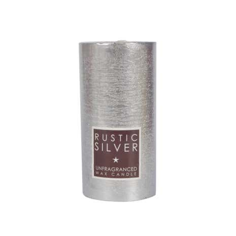 Large Flat-Top Rustic Silver Pillar Candle