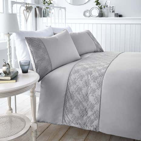Antique Lace Grey Duvet Cover and Pillowcase Set