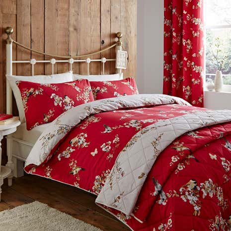 Beautiful Birds Red Duvet Cover Set
