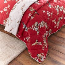 Beautiful Birds Red Bedspread
