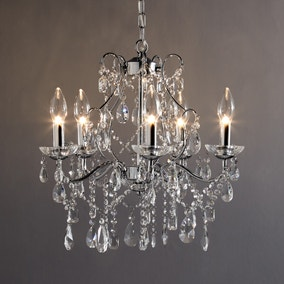 Marquis by Waterford Annalee Chrome 5 Light Chandelier