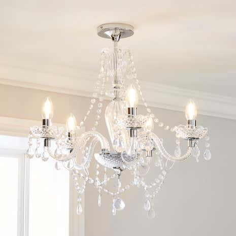 Bryony Chrome 5 Light Semi Flush Ceiling Fitting