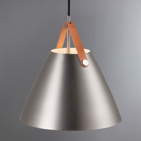 Strap Small Brushed Steel Pendant Light Fitting