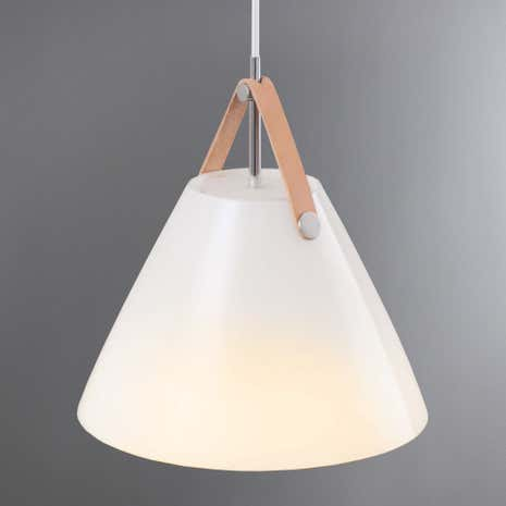 Strap Small White Glass Pendant Light Fitting