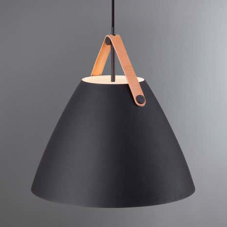 Strap Medium Black Pendant Light Fitting