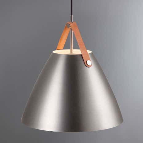 Strap Medium Brushed Steel Pendant Light Fitting