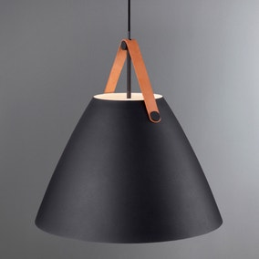 Strap Large Black Pendant Light Fitting