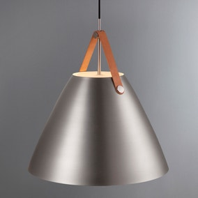 Strap Large Brushed Steel Pendant Light Fitting
