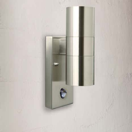 Nordlux Tin Stainless Steel Double Wall Light with Sensor