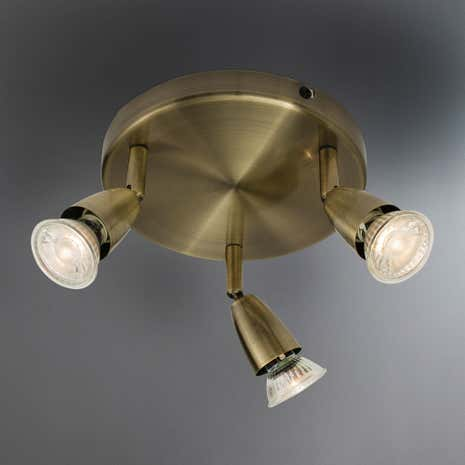 Ameno Brass 3 Light Spotlight