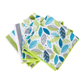 Scandi Leaves Pack of 5 Microfibre Cloths