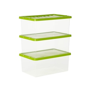 Set of 3 Spring Green 12 Litre Storage Boxes