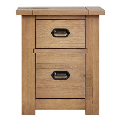 Fenton Pine 2 Drawer Bedside Table Dunelm