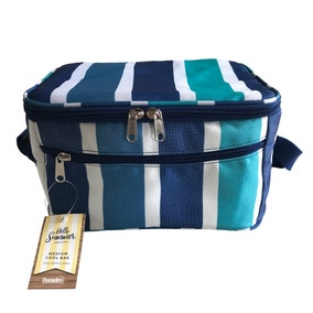 Medium Blue Striped Cool Bag