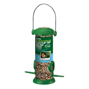 Filled Birdseed Flip Top Feeder