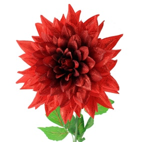 Large Red Glitter Dahlia