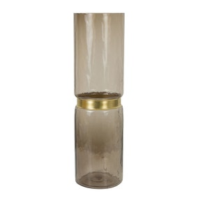 Hotel Glass and Brass Vase