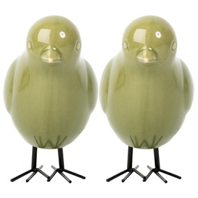 Set of 2 Ceramic Bird Ornaments