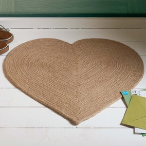 Braided Heart Jute Doormat