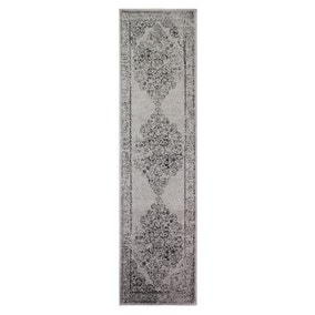 Grey Distressed Damask Runner