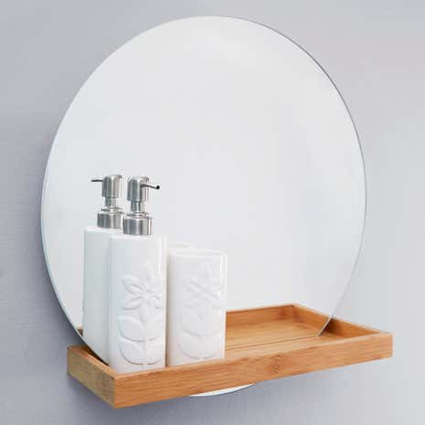 Elements Bathroom Mirror With Shelf Dunelm