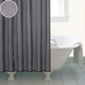 Grey Slub Print Shower Curtain