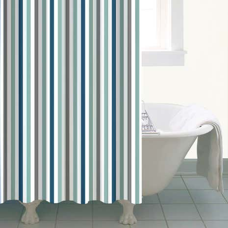 Nautical Bold Stripe Shower Curtain Dunelm