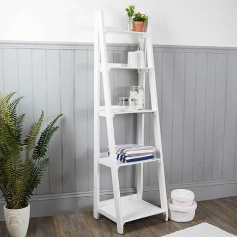 Nautical Wooden Ladder Shelves White | Dunelm