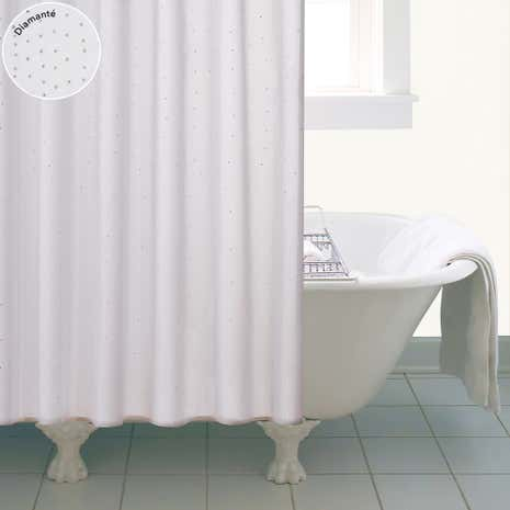 White Diamante Shower Curtain