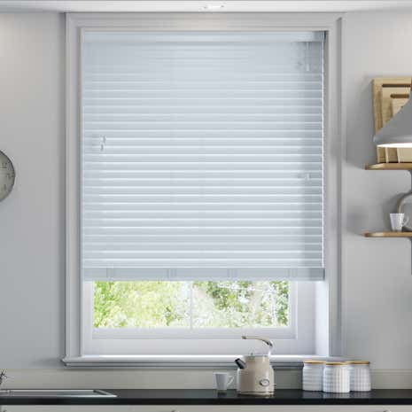 50mm Blue Surf Faux Wood Venetian Blind