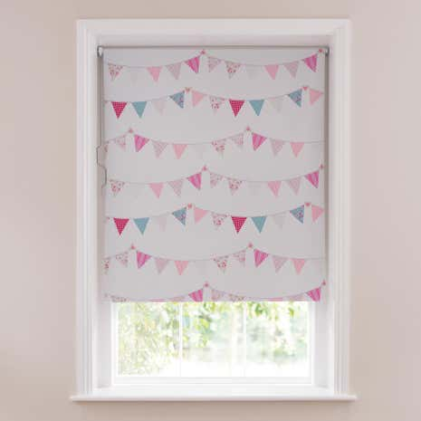pink bunting blackout cordless roller blind loz_20_percent_off_ws15