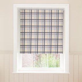 Gingham Ochre Check Blackout Roller Blind