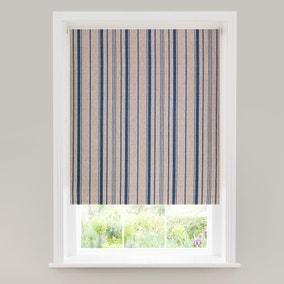 Linen Stripe Blue Blackout Roller Blind