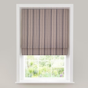 Linen Stripe Grey Lined Roman Blind