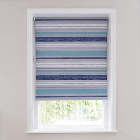 Textured Blue Stripe Blackout Roller Blind